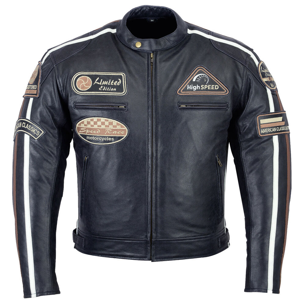 herren retro biker lederjacke motorrad protektoren leder jacke biker jacke neue ebay. Black Bedroom Furniture Sets. Home Design Ideas