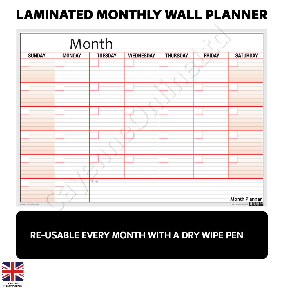 reusable laminated monthly wall plan poster planner free 2019