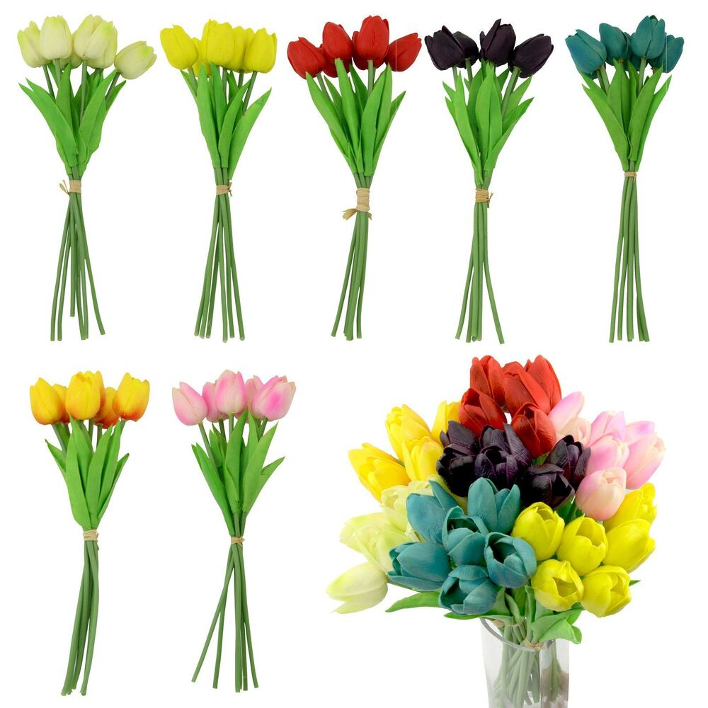 Real Vs Fake Flowers Wedding: Bundle Of 6 Real Touch Tulips