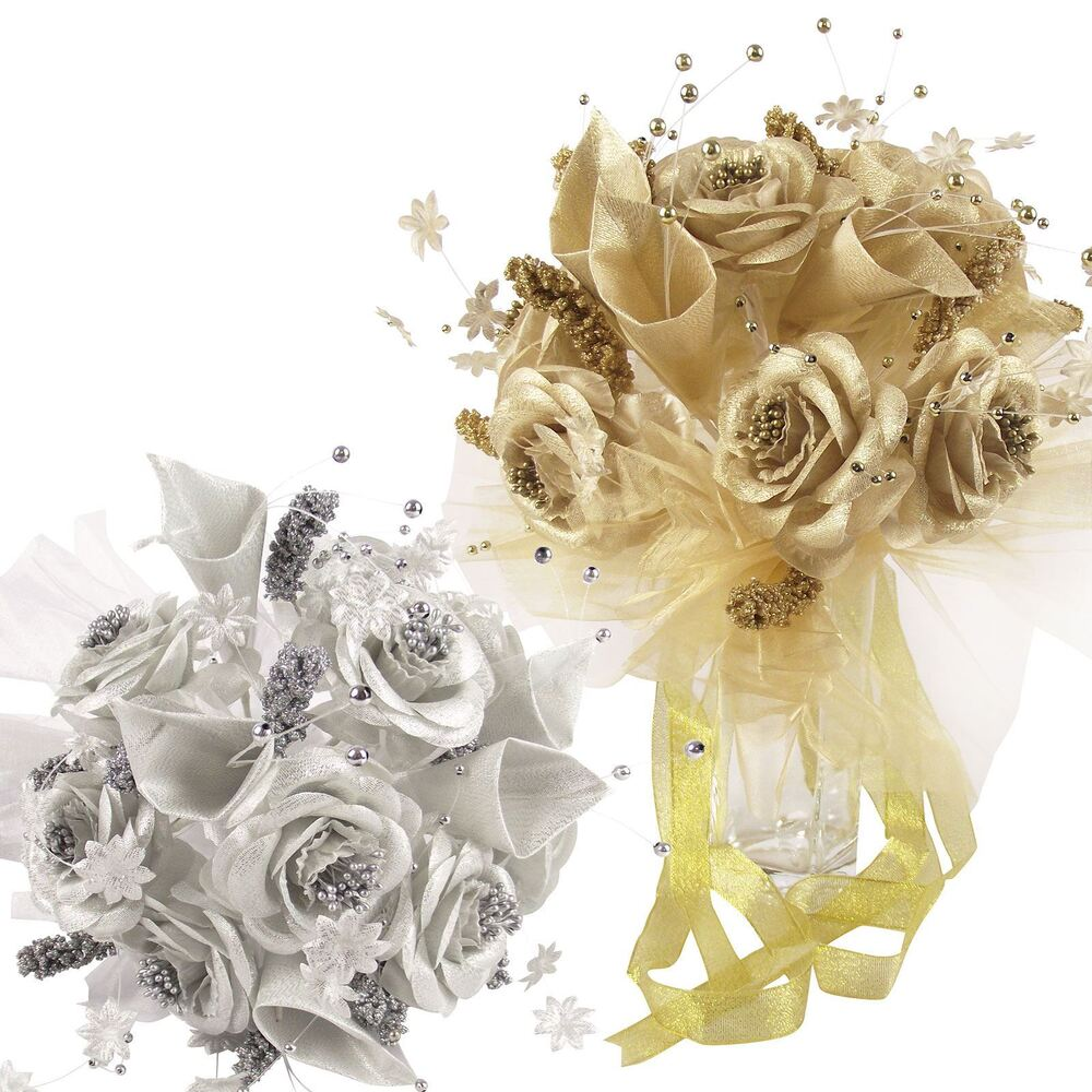 artificial flower bouquets for weddings metallic gold or silver bridal bouquet wedding 1372