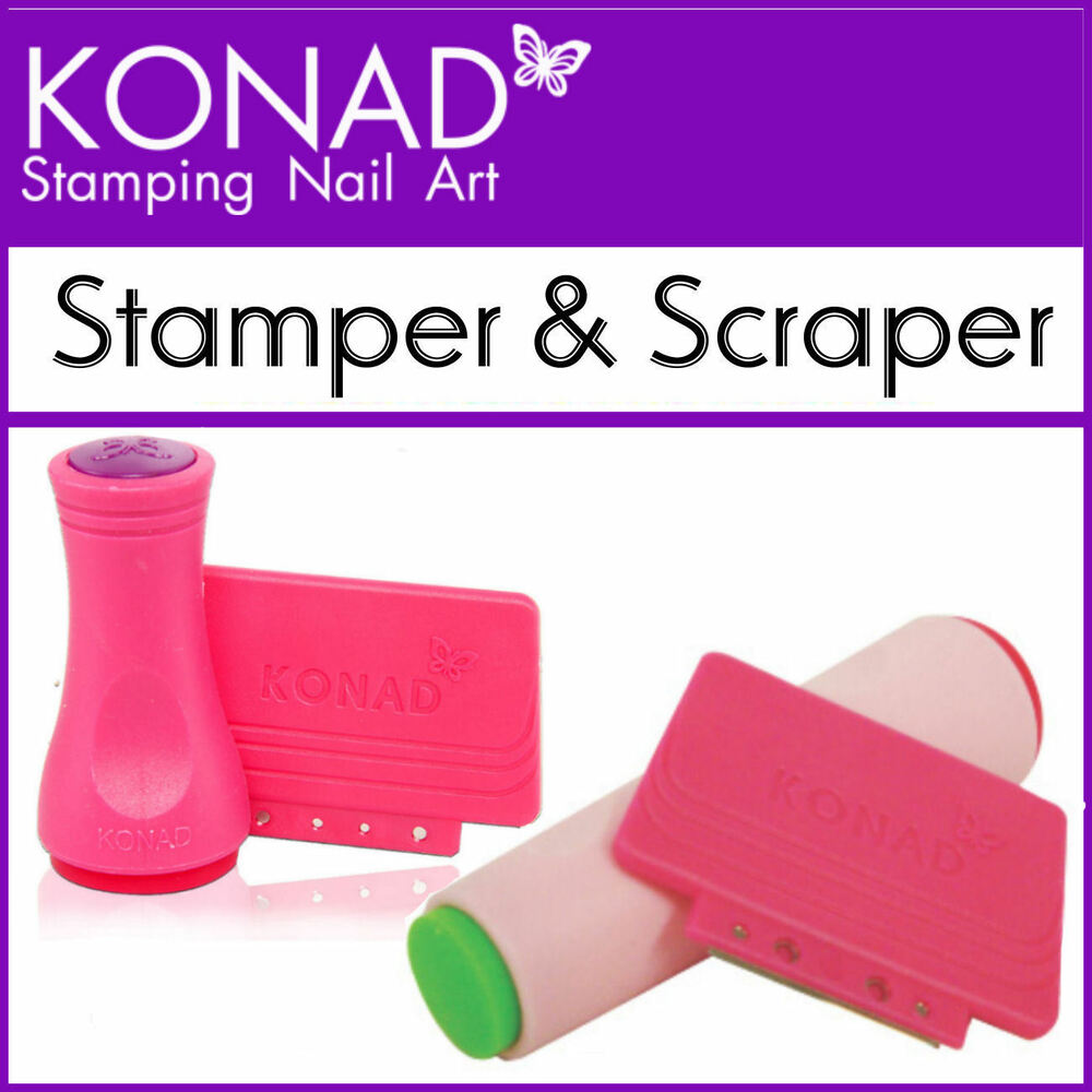 Konad Single/Double Sided 2 Way Nail Art Stamper Scraper Use with ...