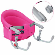 Portable Folding Baby Hook On Clip On High Chair Booster Fast Table Seat Pink