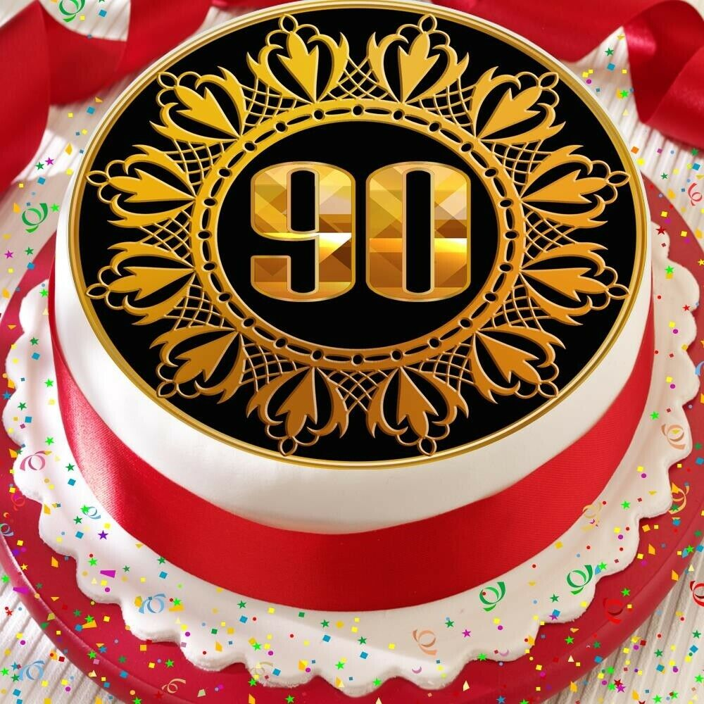 Details About GOLD 90TH AGE 90 BIRTHDAY ANNIVERSARY PRECUT EDIBLE CAKE TOPPER DECORATION