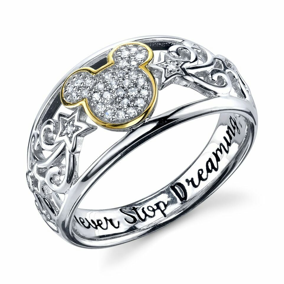 sterling silver real diamond disney mickey mouse ring never stop dreaming 7 ebay - Mickey Mouse Wedding Ring