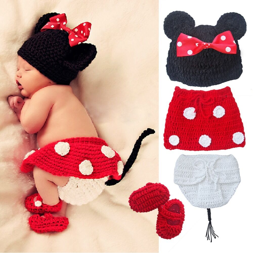 Newborn Baby Girls Knit Crochet Minnie Mouse Costume Photo Prop Xmas