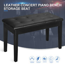 Deluxe Padded Concert Piano Bench Keyboard Storage Seat Portable Solid Wood