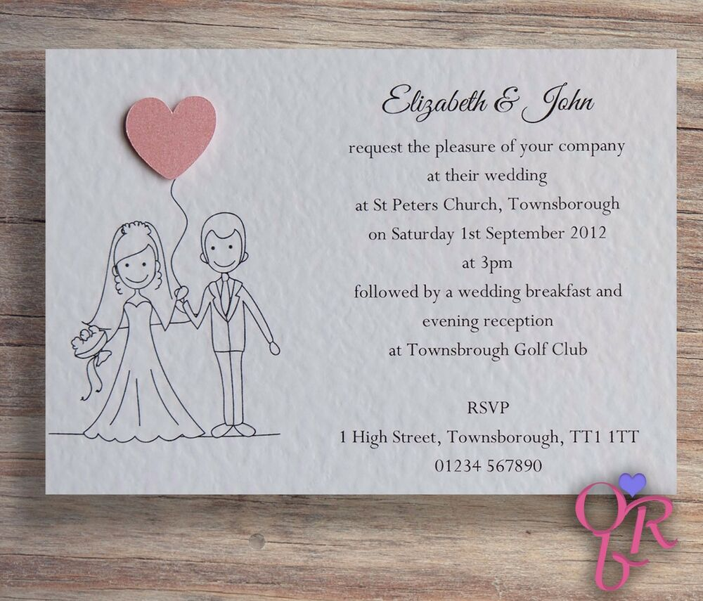 50 Wedding Invitations Evening Invites Personalised Handmade With Envelopes Ebay