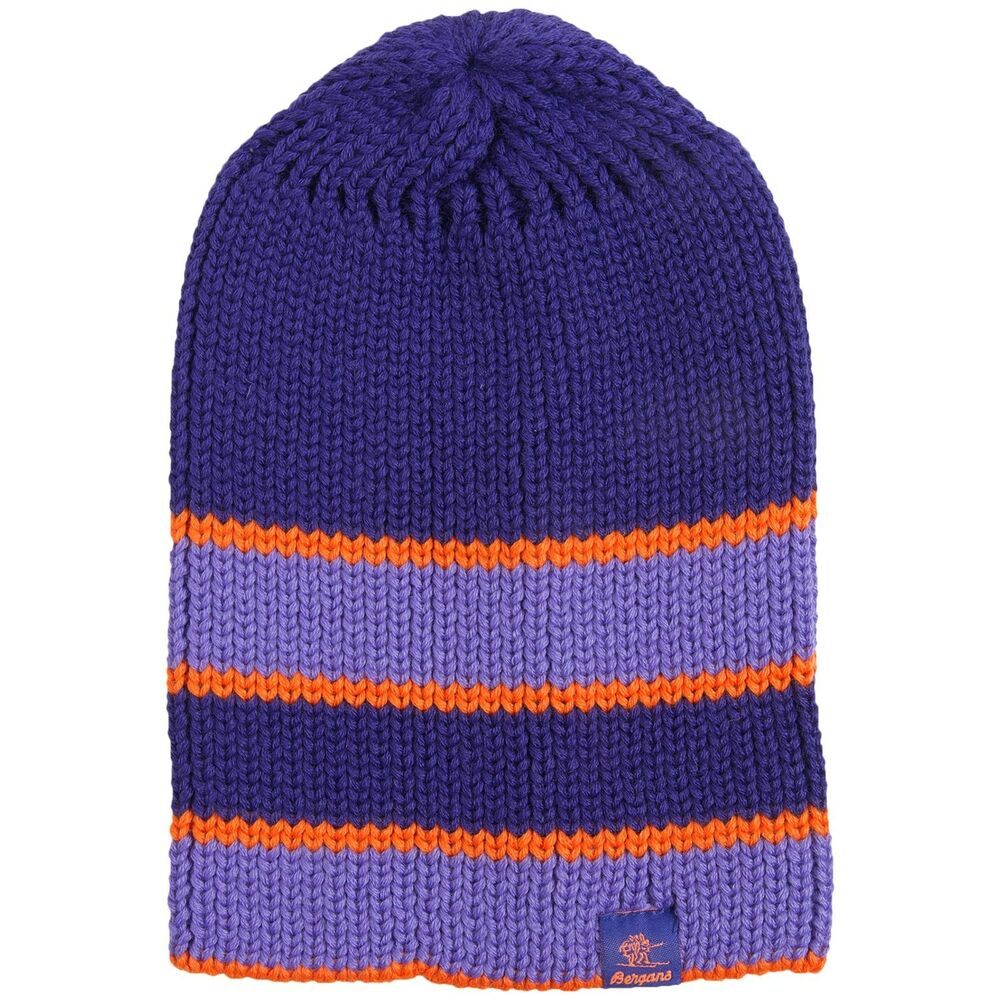 56df244a8d9 Details about Bergans of Norway Unisex NWT Purple Striped Wool Blend Logo  Bris Ski Beanie Hat