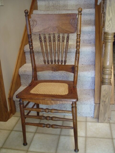 Victorian antique oak pressed back chair cane seat spindles - Antique Cane Chair EBay