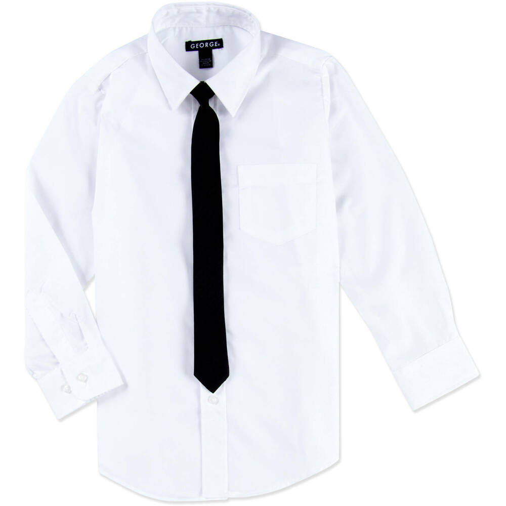 George Boys White Long Sleeved Dress Shirt Black Skinny Tie 4 5 Xs
