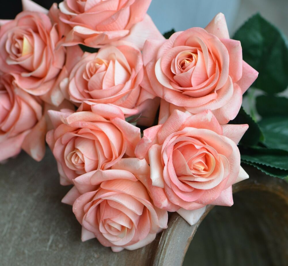 10 Stems Dusty Coral Pink Roses Real Touch Flowers Silk Wedding ...