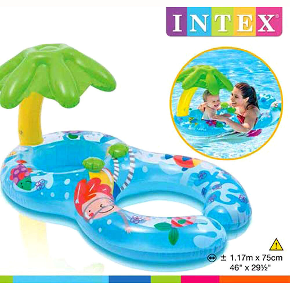 Intex My First Palm Tree Sunshade Baby & Mom Dual Swim Ring Tube ...