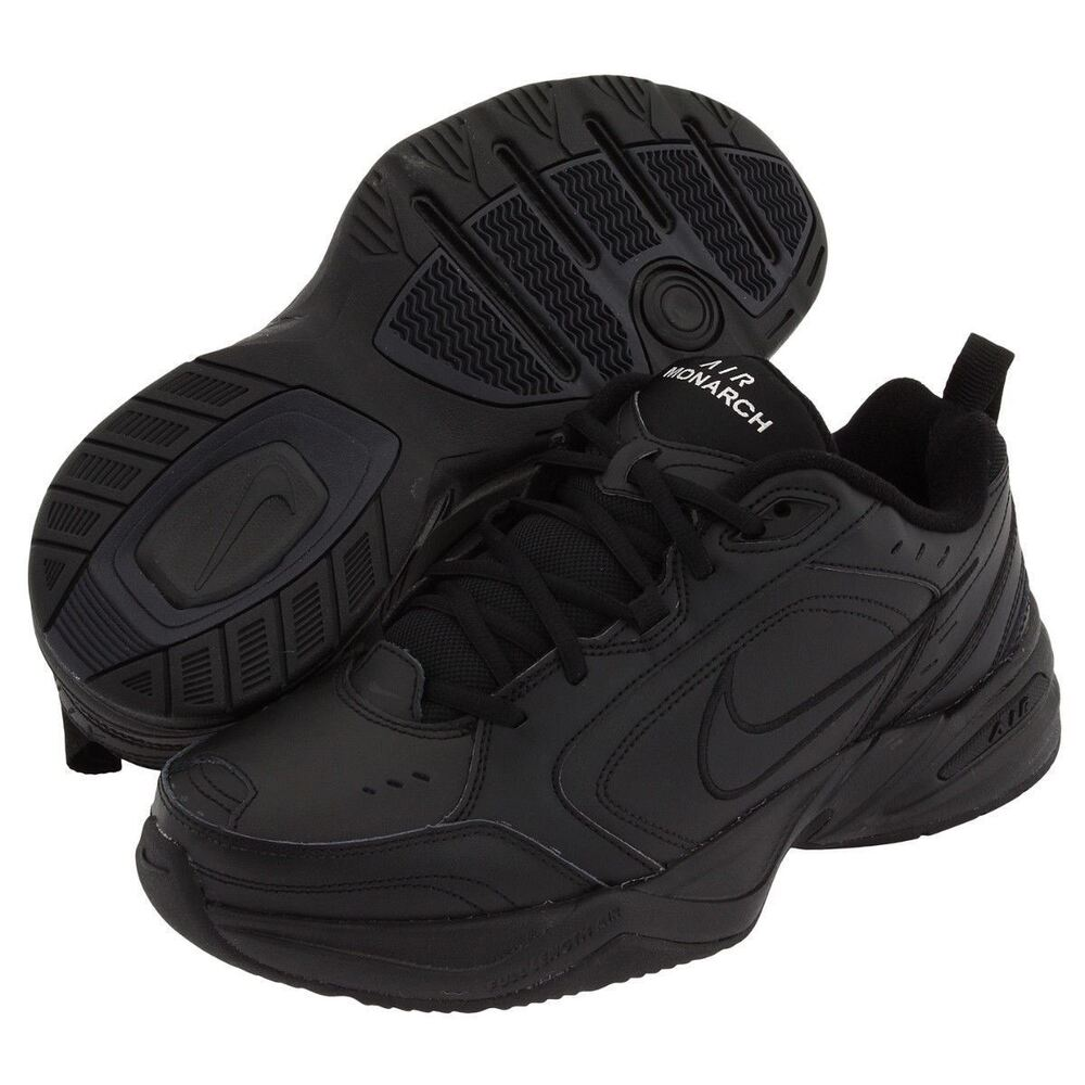 19bcc8b7c902b5 Details about Nike AIR MONARCH IV Mens Black 001 Comfort Lace Up Running  Training Shoes