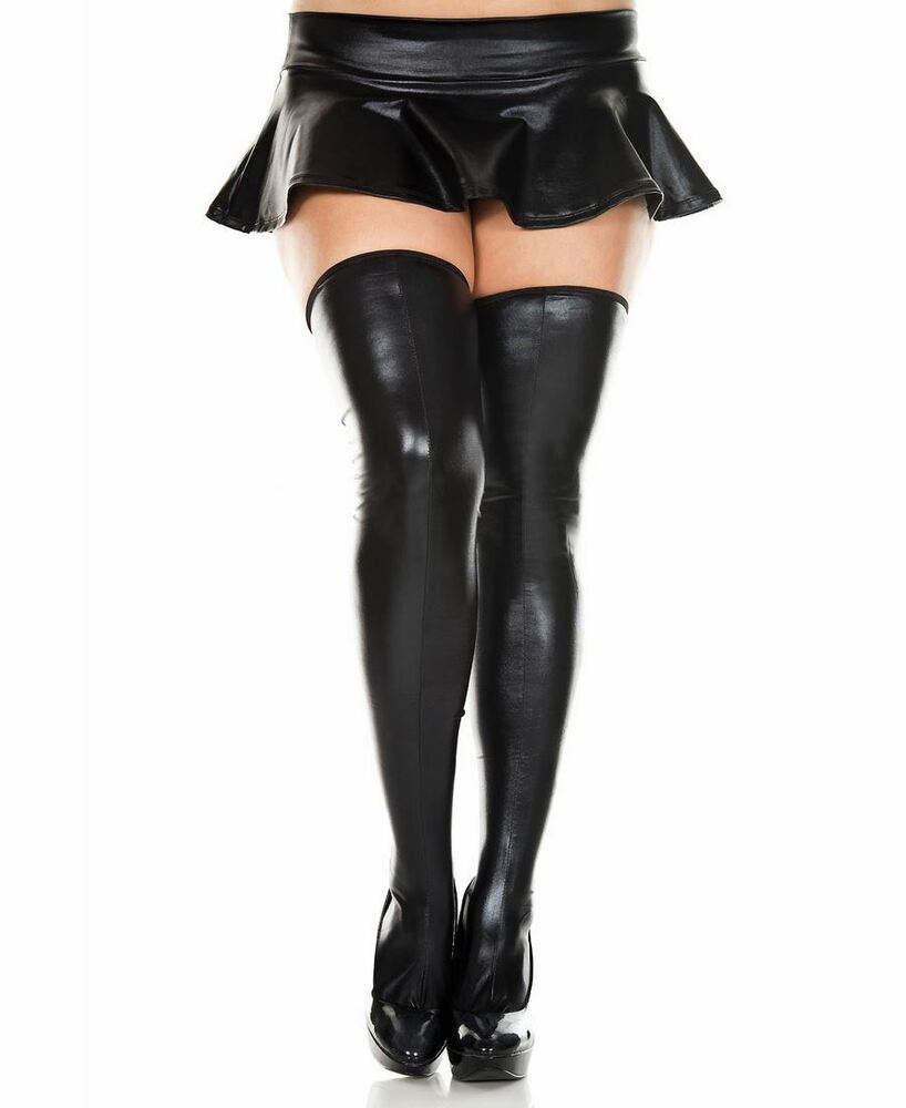 41ce511678f007 Details about Plus Size Wet Look Thigh High Stockings - Music Legs 45112Q