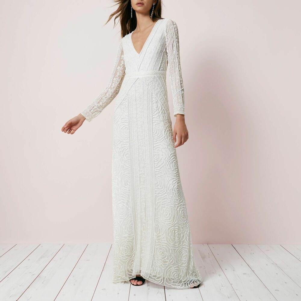 64c304608b Ex River Island Cream Sequin Long Sleeve Maxi Dress Wedding Bridal RRP £250