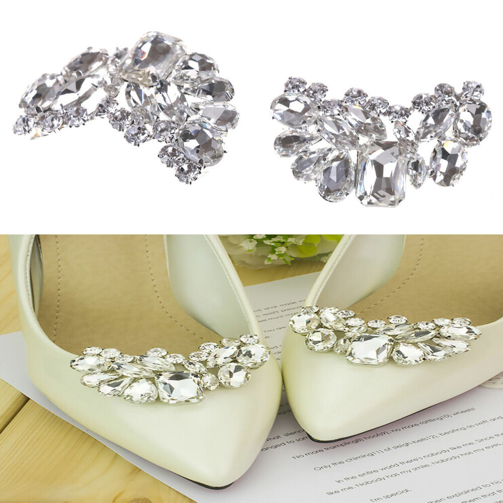 72a96fffbb Details about Shiny Bridal Wedding Shoes Clips Crystal Rhinestone Decor  Accessories、New