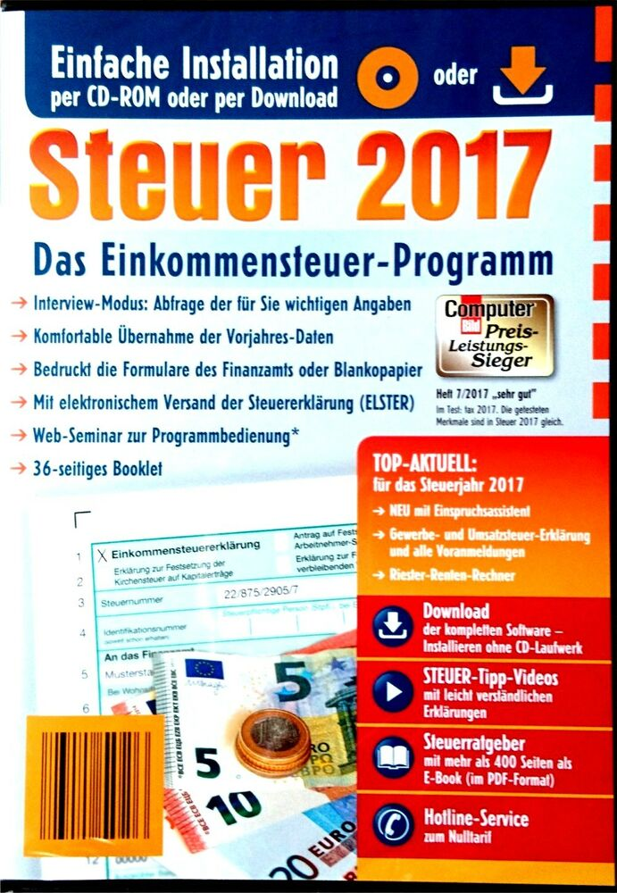 steuersoftware 2017 aldi steuer cd rom steuererkl rung 2017 inkl rechnung neu ebay. Black Bedroom Furniture Sets. Home Design Ideas