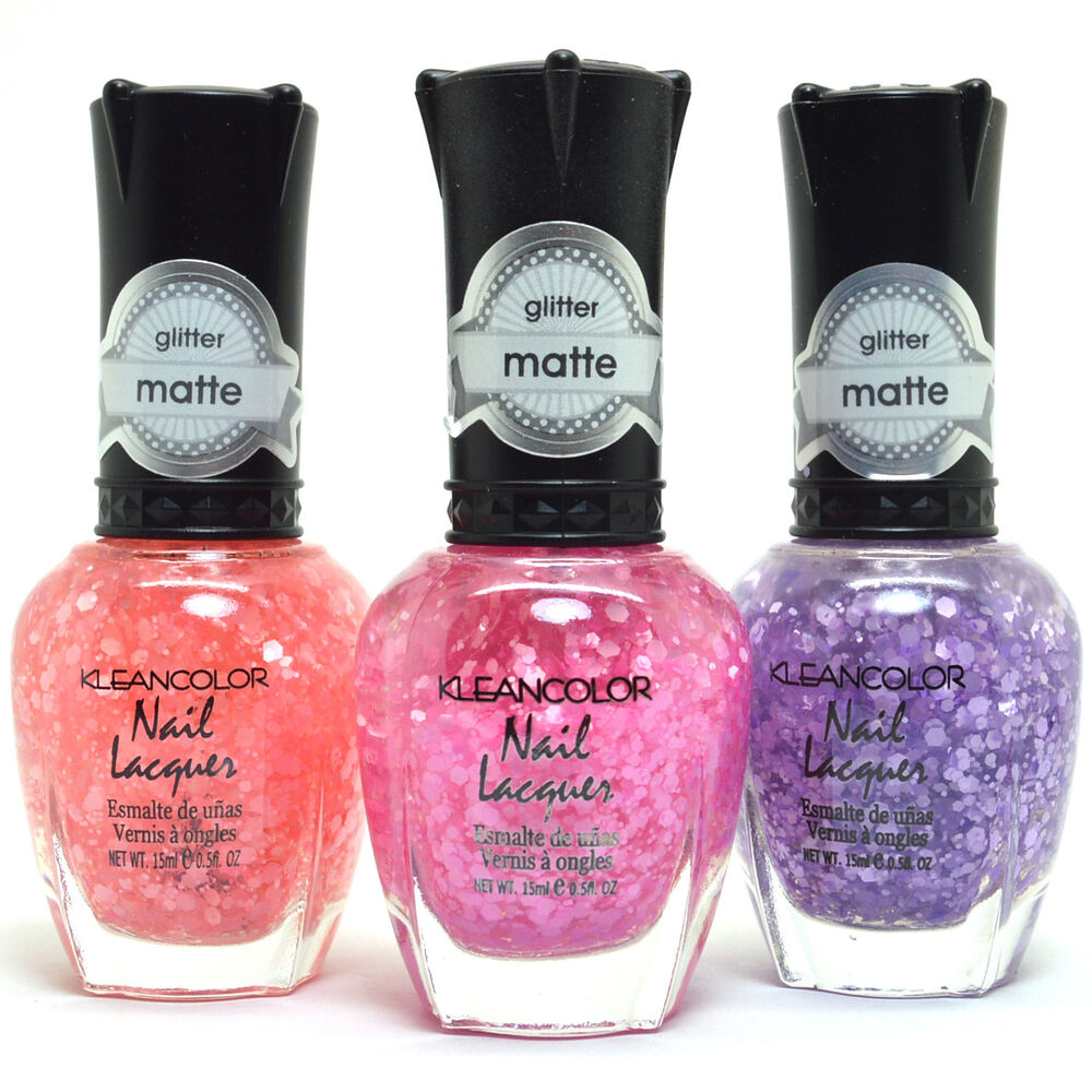 3 Kleancolor Nail Polish 3D Matte Gliiter Pink Red Purple Lacquer ...