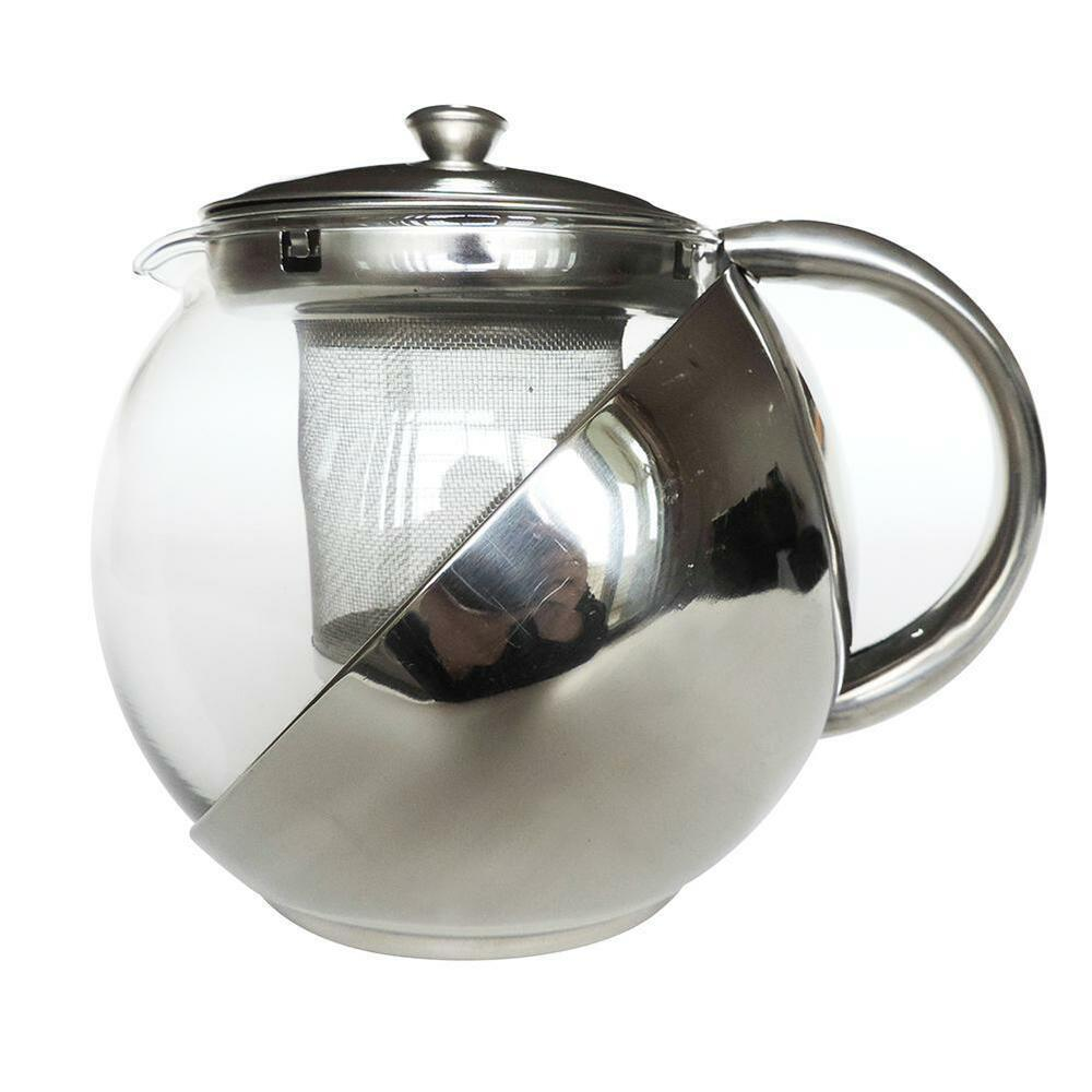 modern stylish stainless steel glass teapot loose leaf. Black Bedroom Furniture Sets. Home Design Ideas