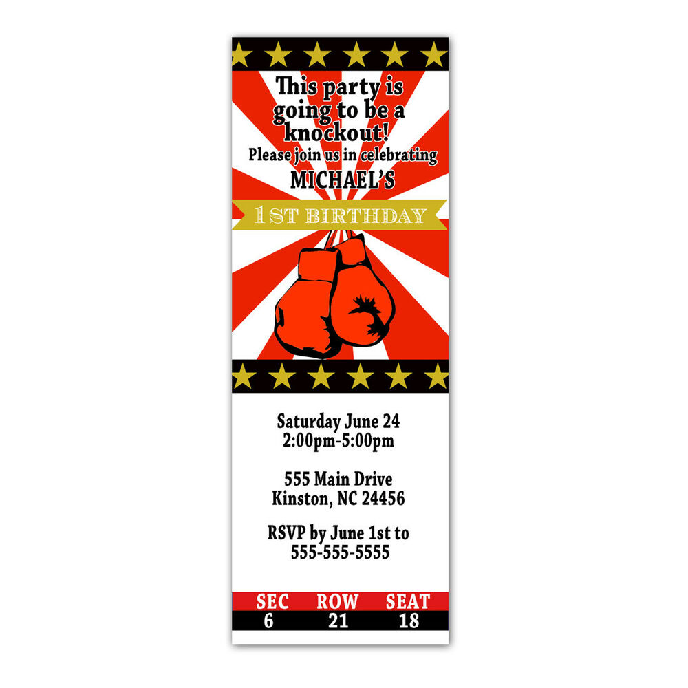 30 invitations kids birthday baby boy shower boxing ticket red gold ...