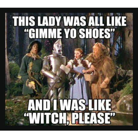 img-Men's Ladies T SHIRT funny US slang Wizard of Oz Dorothy shoes witch please