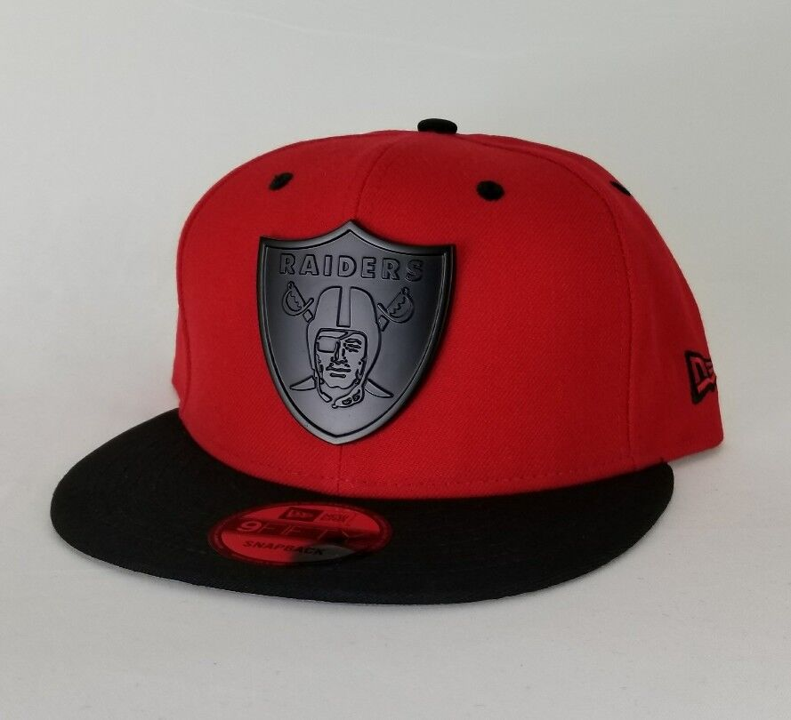 New Era NFL Oakland Raiders Black Metal 9Fifty Snapback Hat Red   Black 6d7263a95a6