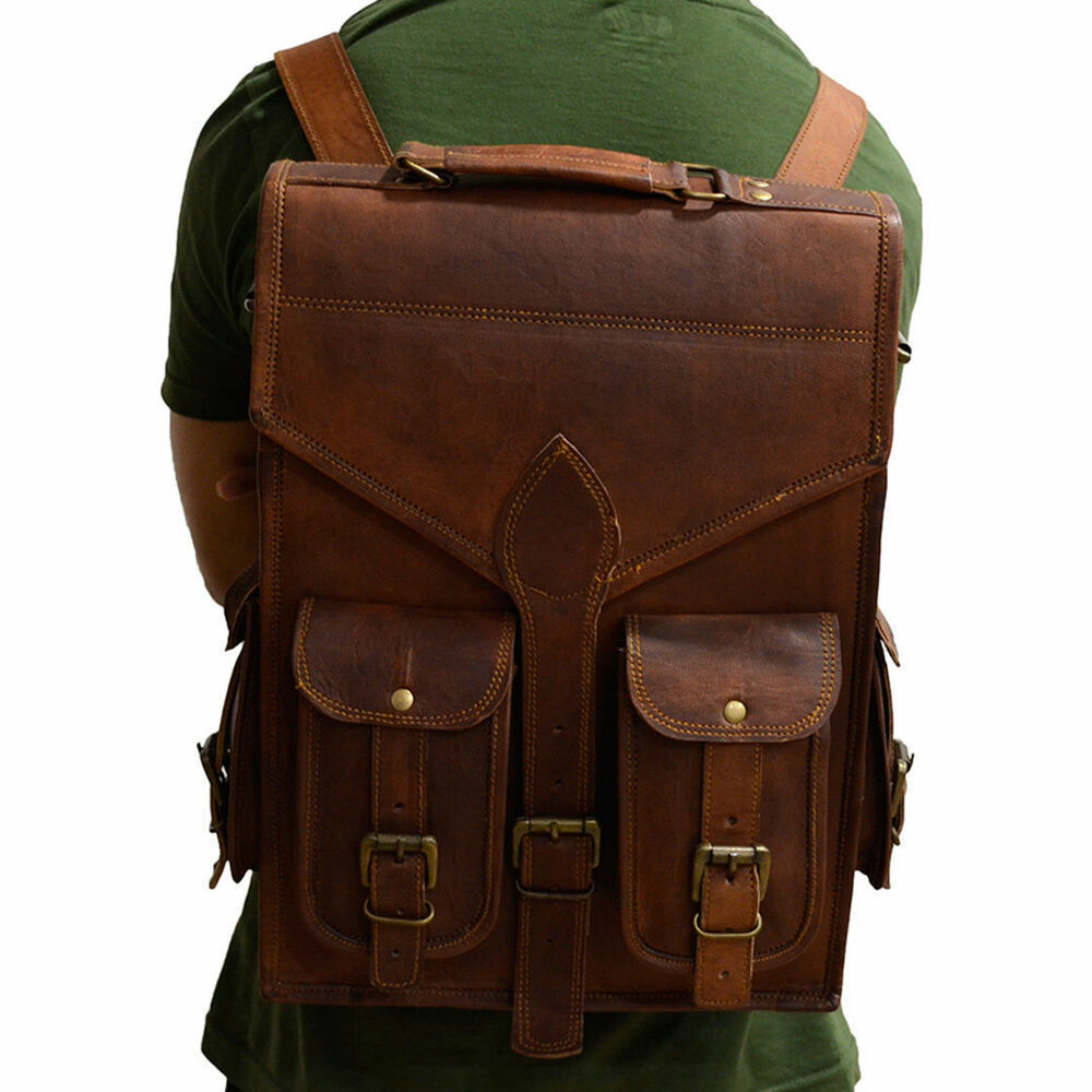 55cc5d06a873 Details about Men s Women s Leather Backpack Laptop Vintage Satchel Travel  School Rucksack Bag