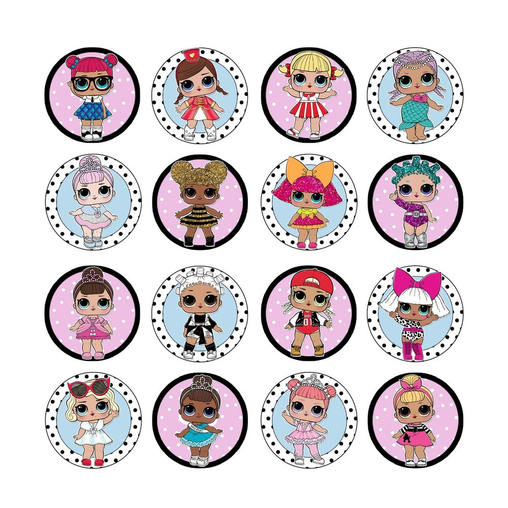 16x Edible Lol Dolls Series 1 Cupcake Toppers Birthday