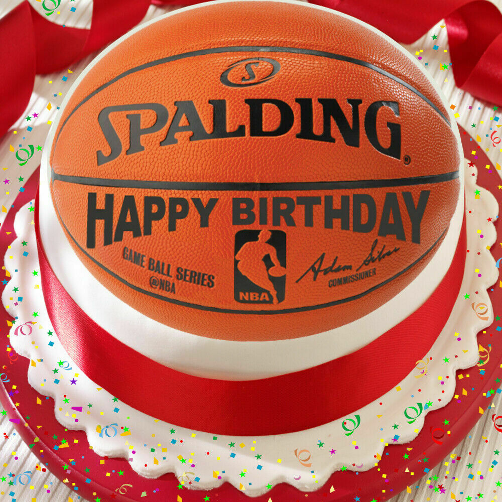 BASKETBALL HAPPY BIRTHDAY 7.5 INCH PRECUT EDIBLE CAKE ...