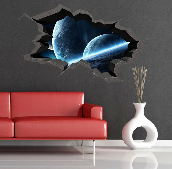 3d space cracked hole space galaxy stars full colour wall art