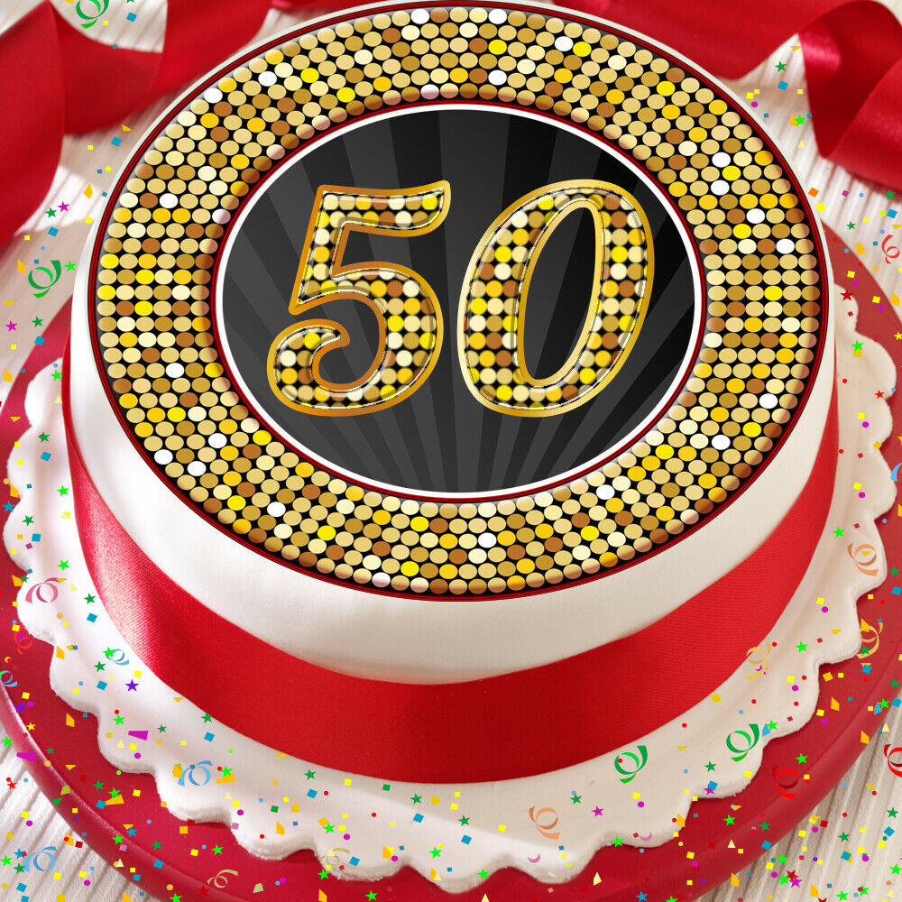 Details About 50TH BIRTHDAY ANNIVERSARY BLACK GOLD BORDER 75 INCH PRECUT EDIBLE CAKE TOPPER