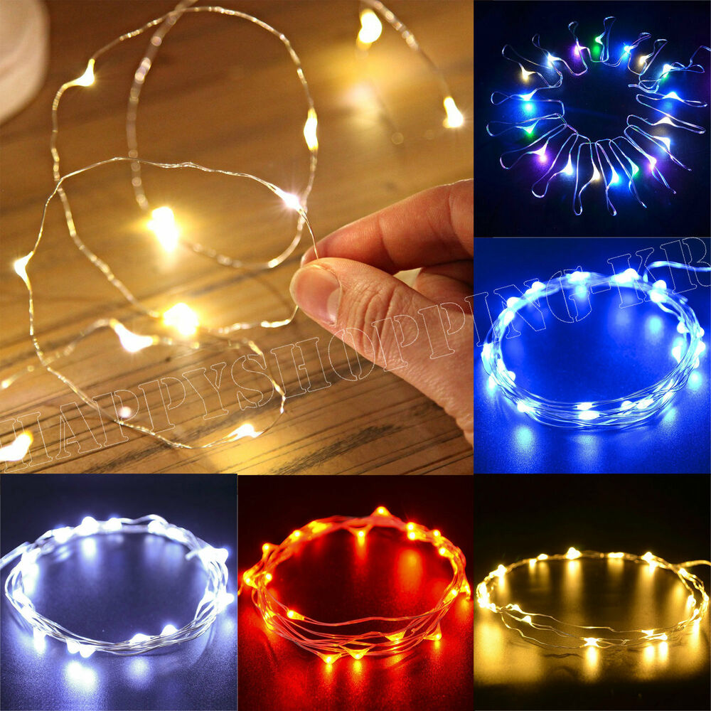 20/50/100 LED String Battery Operated Copper Silver Wire