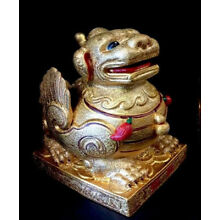 Beautiful Chinese Kylin Gold Unicorn Lion Winged Foo Dog Statue Sculpture 10