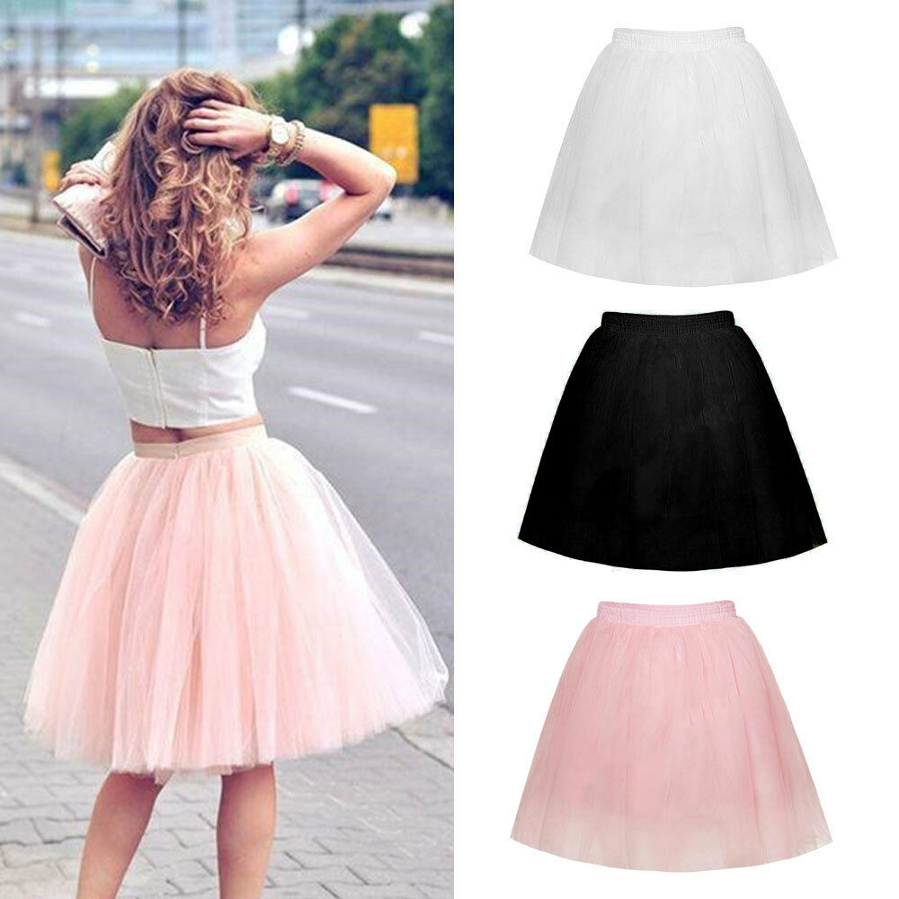 Women Adult Tutu Tulle Skirt Underskirt Petticoat Wedding Princess Ballet Dress