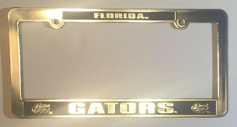 FLORIDA GATORS CAR TRUCK TAG LICENSE PLATE FRAME UNIVERSITY SILVER ...