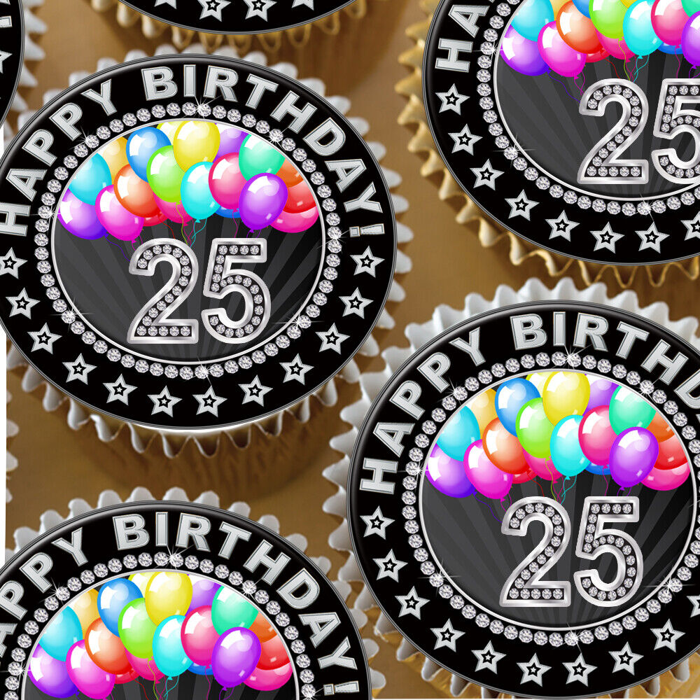 Details About HAPPY 25TH BIRTHDAY AGE 25 BLACK AND DIAMOND BALLOON EDIBLE CUPCAKE TOPPER