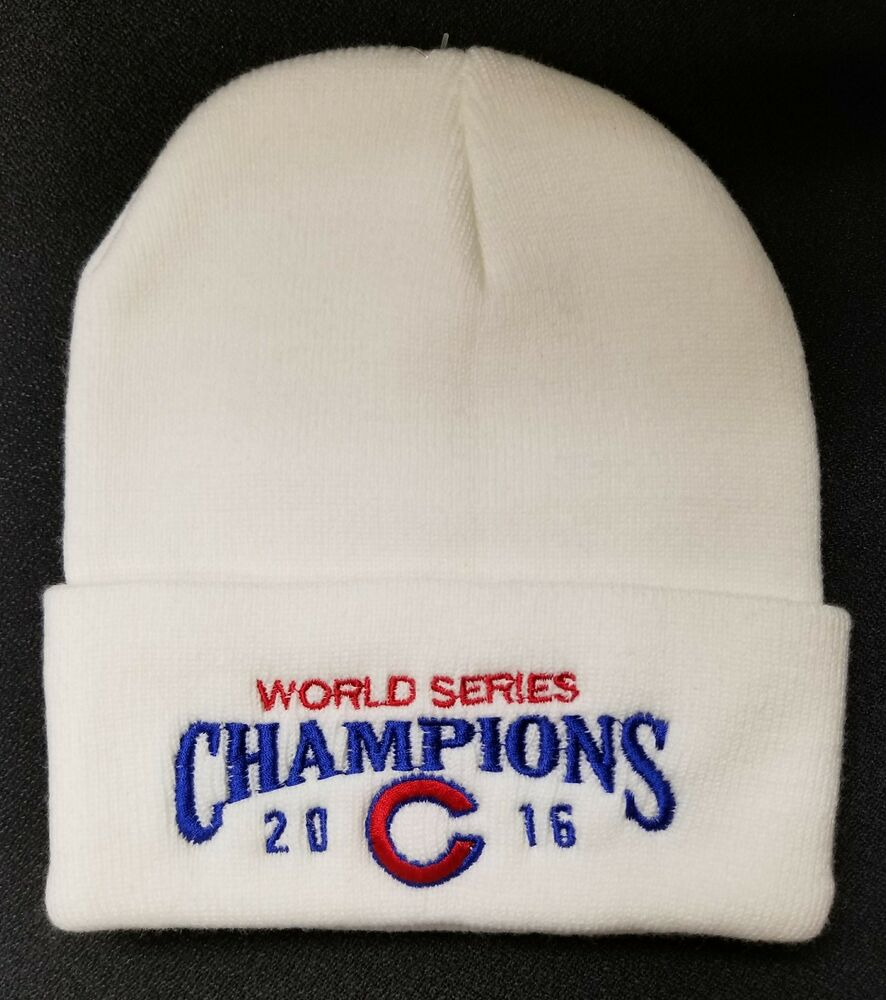 29b8acd86e2 Details about CHICAGO CUBS 2016 WORLD SERIES CHAMPIONS WINTER SKULL HAT -  WHITE