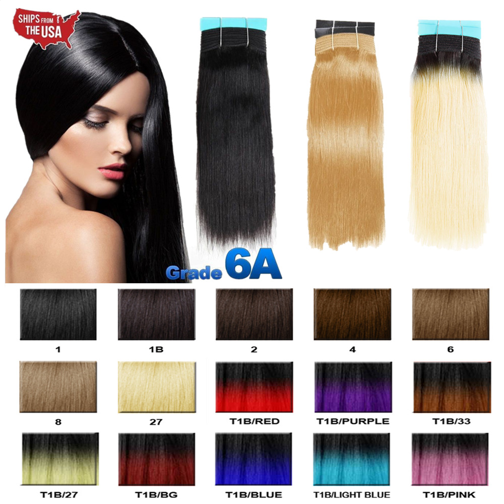 Real Thick 100 Remy Human Hair Yaki Straight Bundle Ombre Hair