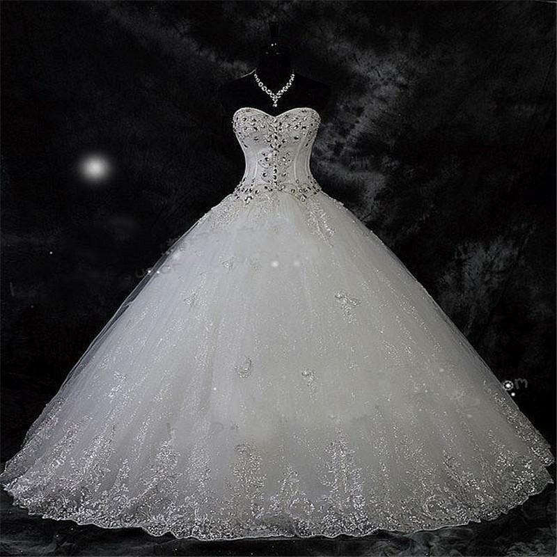 Giant Ball Gown Wedding Dress: Robe De Mariage New Arrival Lace Rhinestone Vintage Plus