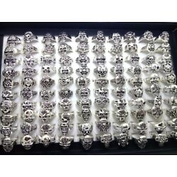 50x Mix lot Men's Skull Gothic Biker Rings Top Styles Mixed Wholesale Jewelry