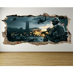 WS28 SNIPER ARMY HELICOPTER HOLE IN WALL SMASH 3D WALL ART sticker DECAL boys