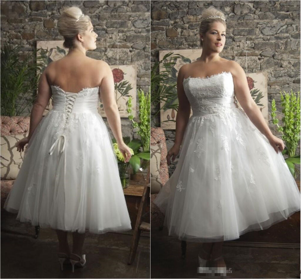 Elegant Strapless Lace Tulle Tea Length Wedding Dresses Bridal Gowns ...
