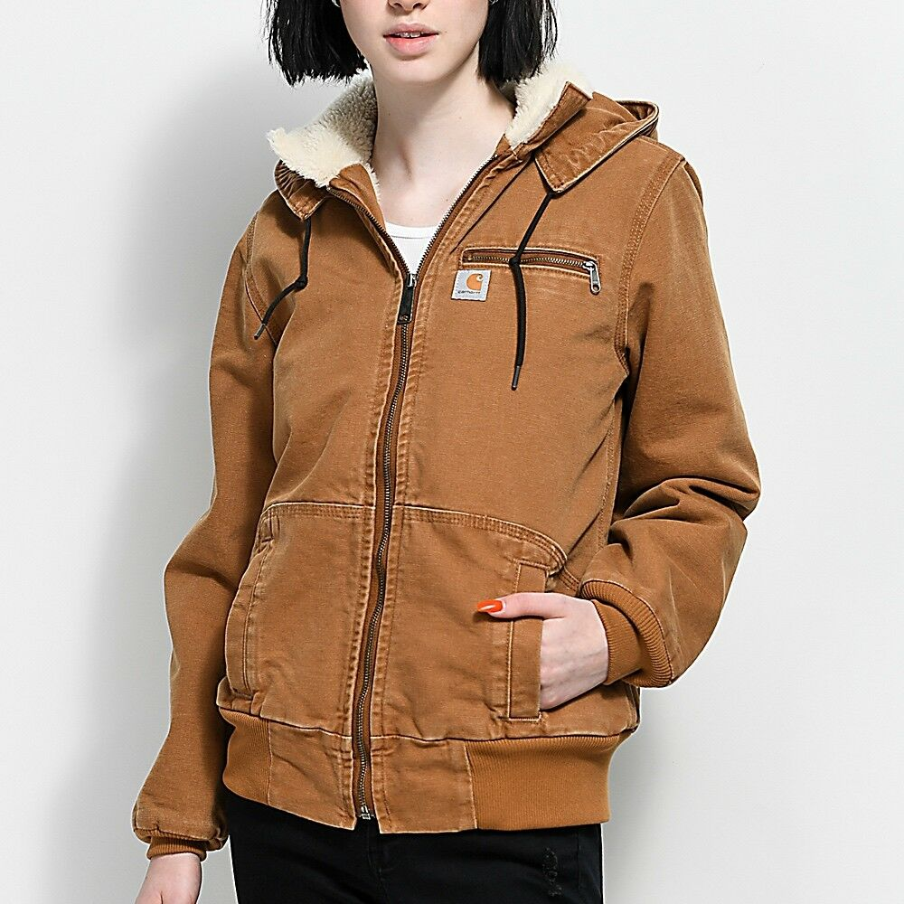 6fabb2ba80 Details about New $165 CARHARTT Womens Sherpa-Lined Duck Jacket Hooded Coat  Light Parka Brown