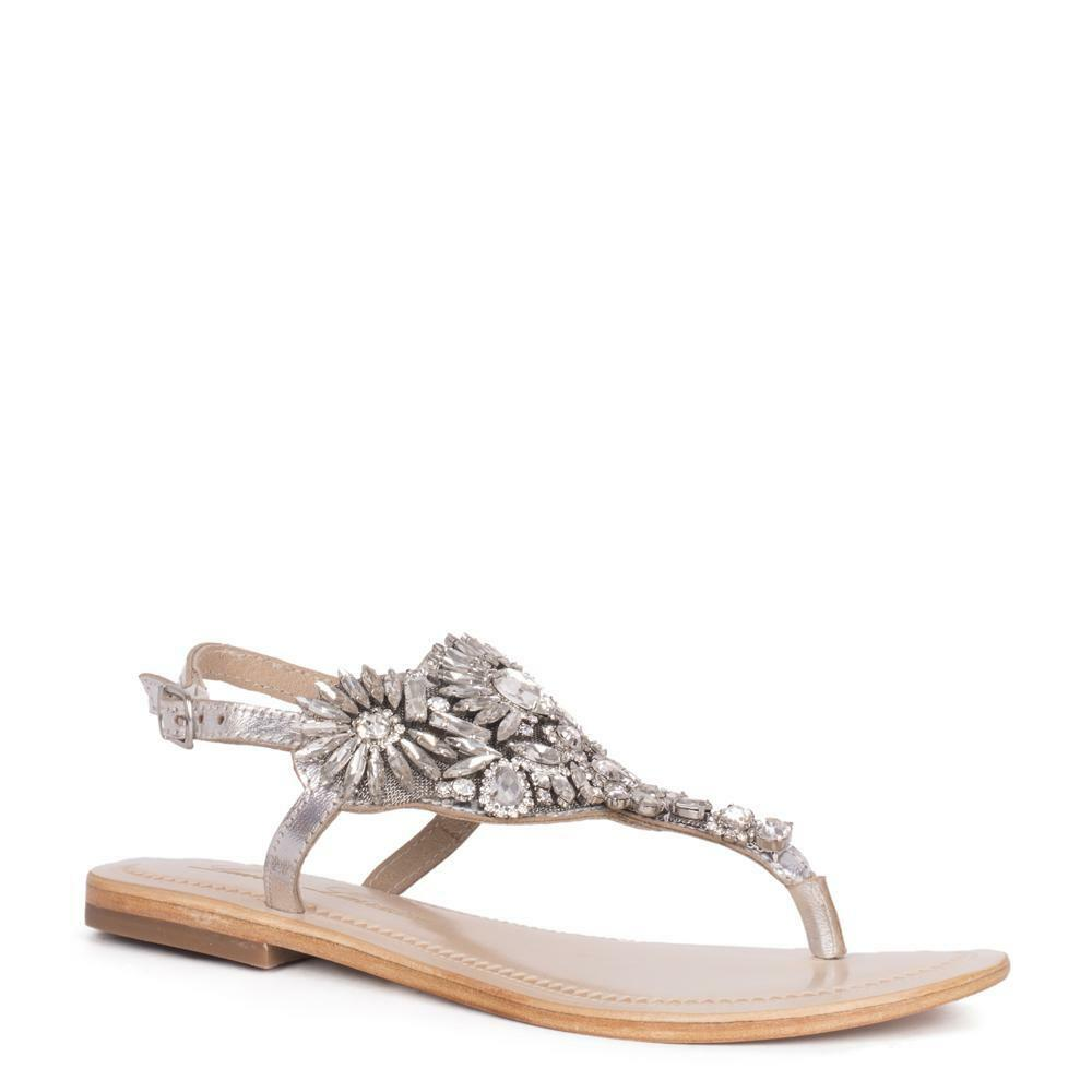 4078f86af10f Details about Lauren Lorraine Vera Silver Flat Thong Leather Rhinestone  Crystalized Sandals