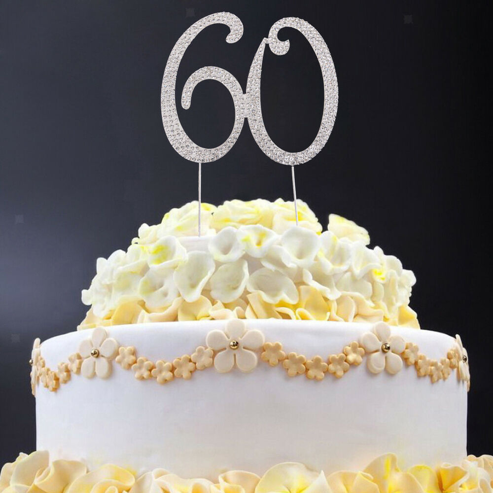 Details About Novelty Anniversary Birthday Cake Topper 60th Numbers Rhinestone Crystal