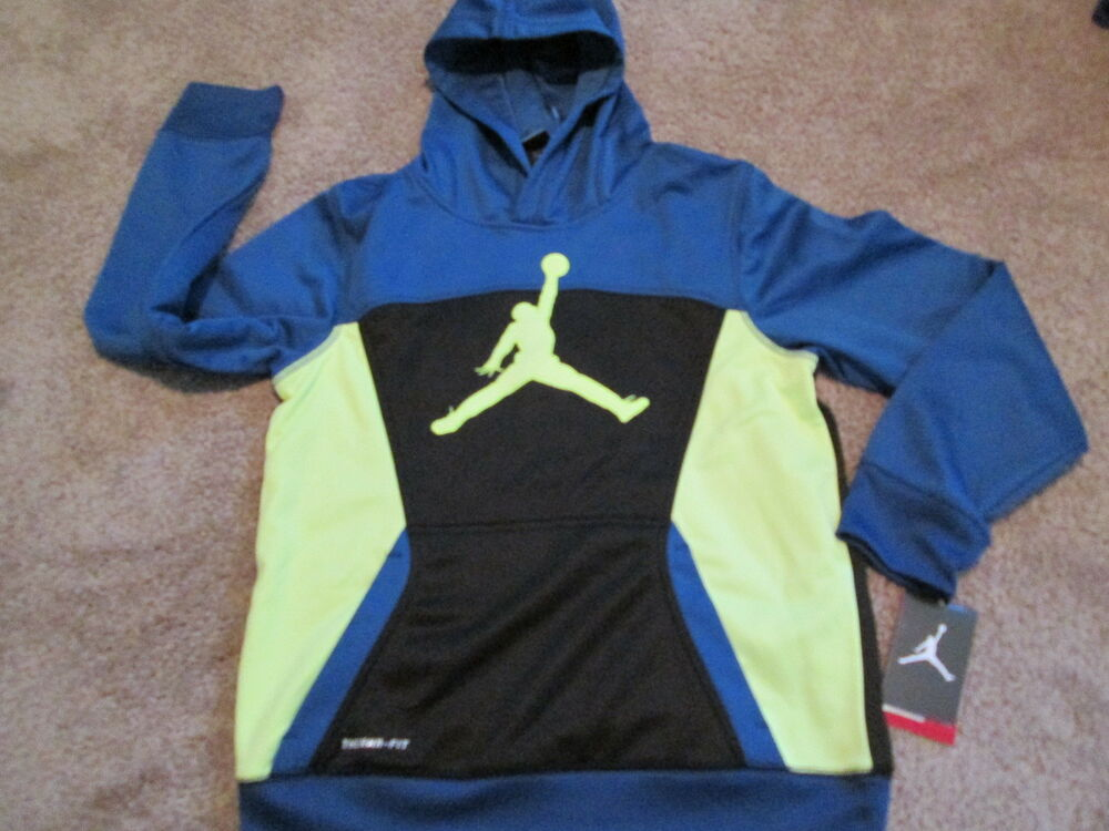 d82e809d9f03 Details about NEW Boys NIKE AIR JORDAN THERMA-FIT Fleece Lined Hoodie  LGBlue Ylw Blk FREE SHIP