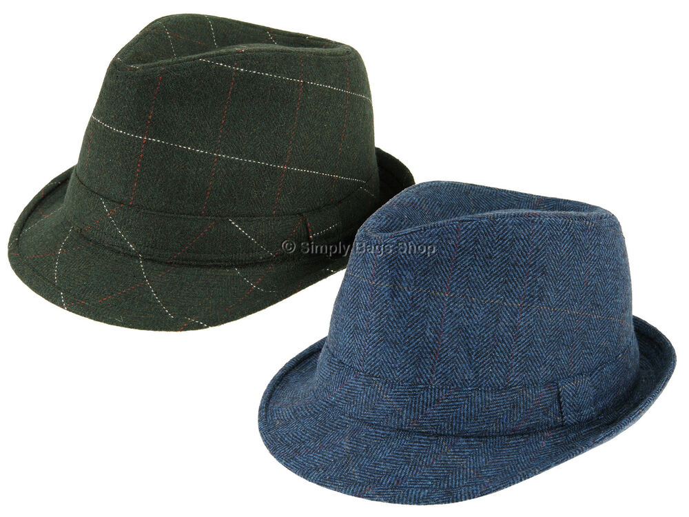 Details about Hawkins Unisex Tweed Country Trilby Hat Rolled Brim Headwear  Classic Fedora Cap 62b312858d58