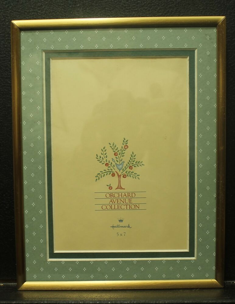 Plain gold metal picture frame glass green mat 5x7 Orchard Avenue ...