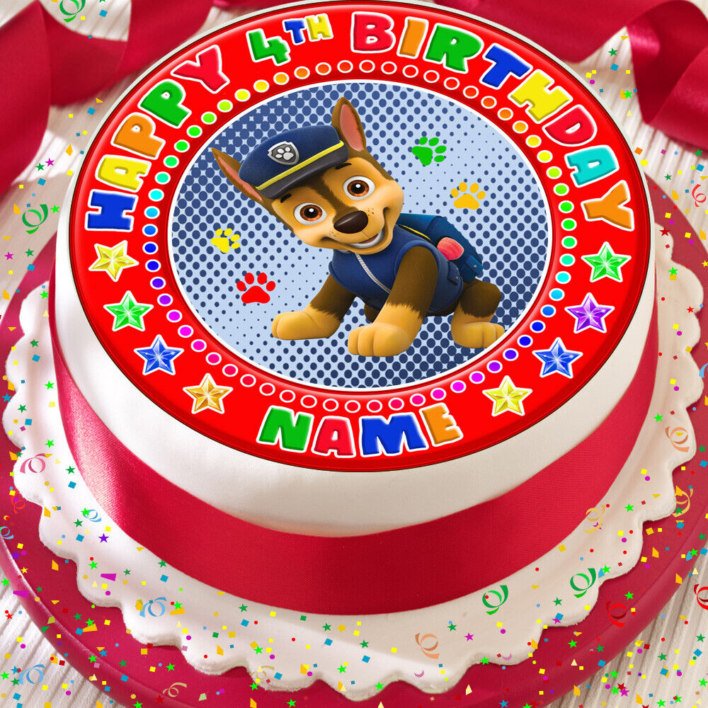 Details About PAW PATROL CHASE PERSONALISED PRECUT EDIBLE 75 INCH BIRTHDAY CAKE TOPPER PP8