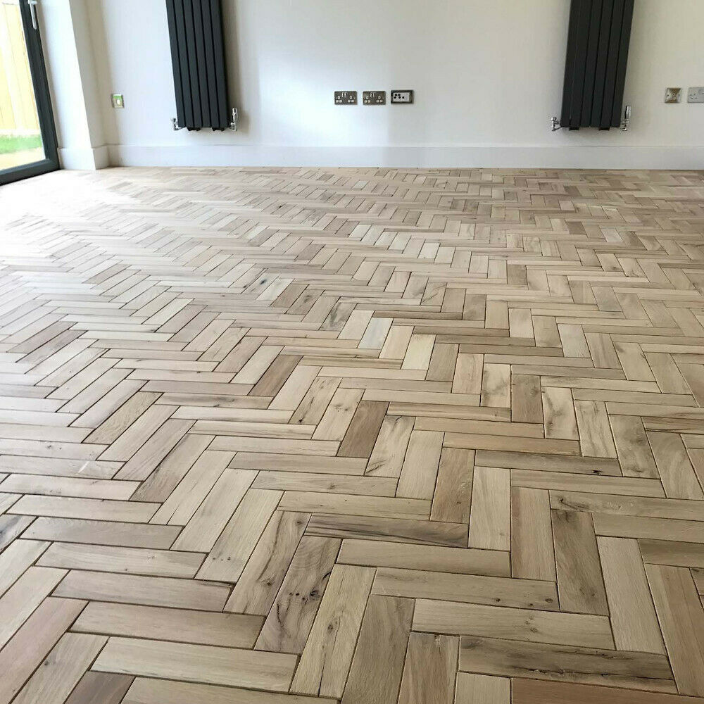 parquet solid oak wood flooring in natural finish herringbone or fishbone design ebay